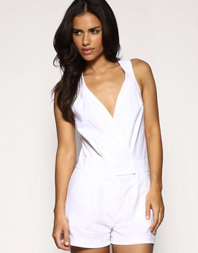 ASOS | ASOS Linen Cross Back Playsuit at ASOS :  memorial day asos linen cross back playsuit white labor day