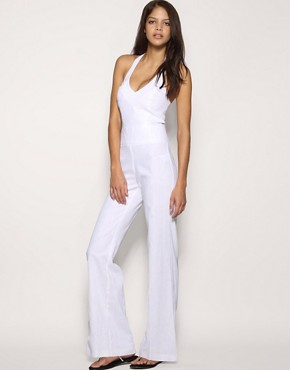 ASOS | ASOS Halter Wide Leg Jumpsuit at ASOS :  white jumpsuit 4500 stylish outfit wide leg jumpsuit