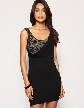 Lace and Jersey Drape Front Dress at ASOS :  mini sexy little black dress classic