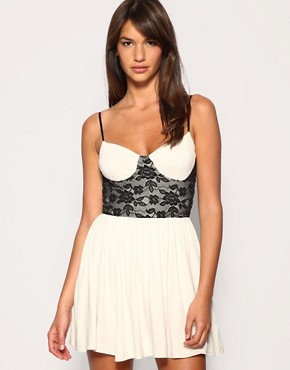 Lace Bodice Contrast Cup Babydoll Dress at ASOS :  mini lace fashion white