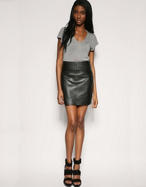 Gestuz | Gestuz Pleat Detail Biker Leather Skirt at ASOS :  mini skirt 15000 sexy skirt grey skirt