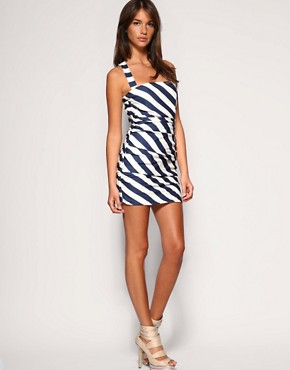 Rare | Rare Ruched Stripe Cross Back Dress at ASOS :  striped short dress nautical polyester
