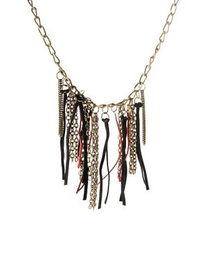 ASOS Leather & Chain Hanging Necklace