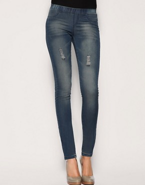 ASOS Indigo Abraised Denim Legging at ASOS :  blue tights jean style