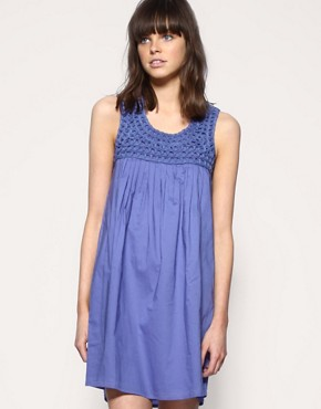 ASOS | ASOS Cornelli Yoke Trim Dress at ASOS :  blue dress mini dress womens clothing 3000
