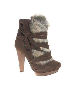 ALDO Vanderau Faux Fur Trim Heeled Ankle Boot from us.asos.com
