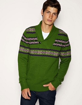 ASOS Shawl Neck Reverse Fairisle Jumper