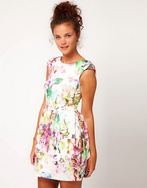 Image 2 ofRiver Island Cocoon Skirted Dress With Bow Back