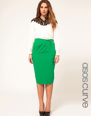 Image 1 of&#160;ASOS CURVE Exclusive Pencil Skirt With Pleat Waist