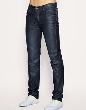 Image 1 of ASOS Twisted Resin Coated Slim Jeans