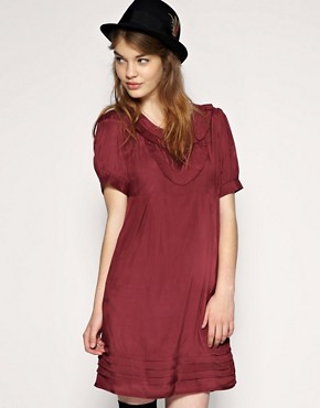 ASOS | ASOS Frill Bib Panelled Hem Dress at ASOS :  maroon clothing womens pleats