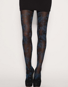 Gipsy | Gipsy Rose Print Tights at ASOS :  legwear floral motif sheer accessory