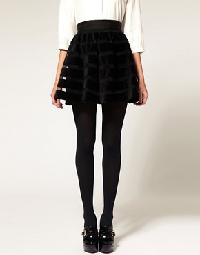 Image 4 ofASOS Full Skirt in Velvet and Mesh Stripe