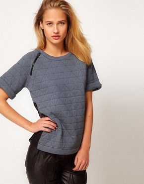 Image 1 of ASOS REVIVE Top with Diamond Quilting