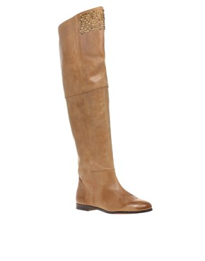 Head Over Heels | Head over Heels Orient-Stud Over Knee Boot at ASOS :  rounded toe circles studs womens