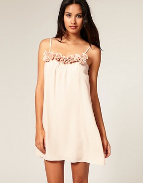 Image 1 of ASOS Swing Dress with Rose Applique Neck