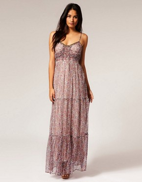 Image 1 of Kookai Silk Ditsy Tiered Maxi Dress
