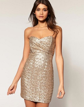Image 1 of TFNC Bandeau Sweetheart Sequin Dress