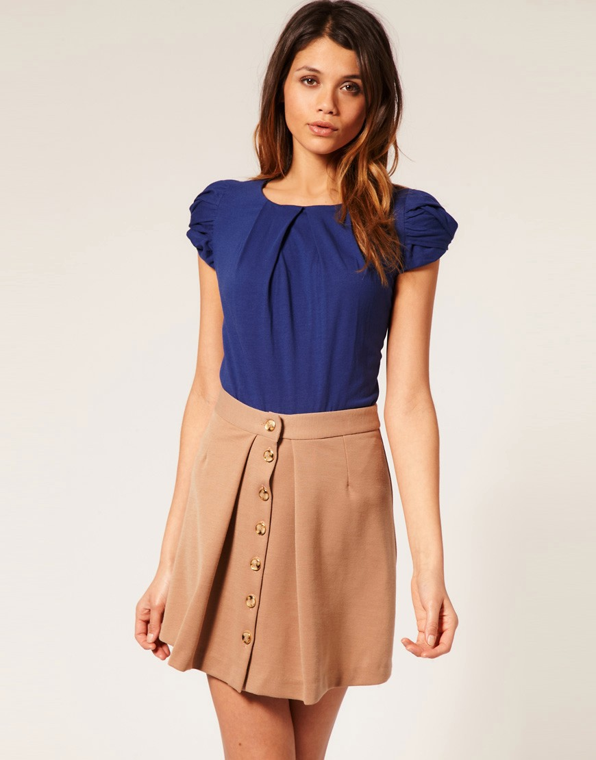 ASOS Twist Sleeve Pleat Front Top