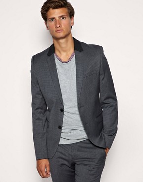 ASOS Skinny Fit Houndstooth Grey Jacket