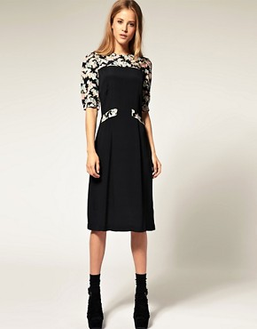 Image 1 of ASOS Midi Dress With Printed Sleeves