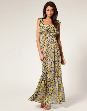 Image 1 of ASOS Maxi Dress in Chiffon Floral print