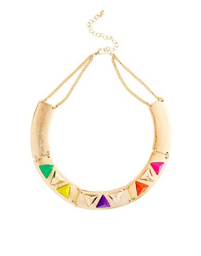 Image 1 of ASOS Articulated Coloured Triangle Collar Necklace