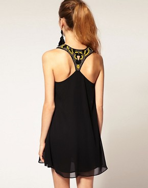 Image 1 of ASOS Embellished DRESS with Ruffle Front