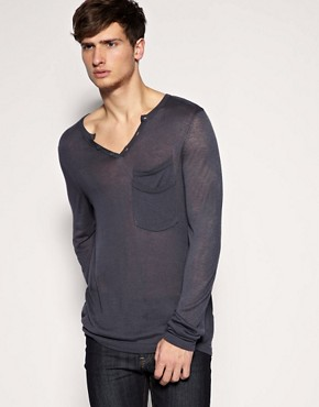 ASOS Notch Neck Knitted Double Pocket Jumper