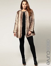 ASOS CURVE Exclusive Collarless Coat In Faux Fur