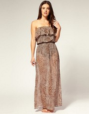 buy ASOS Chiffon Frill Animal Print Maxi Dress by ASOS in swimsuits shop