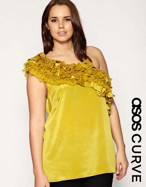Image 1 of ASOS CURVE Plus Size Ruffle One Shoulder Top