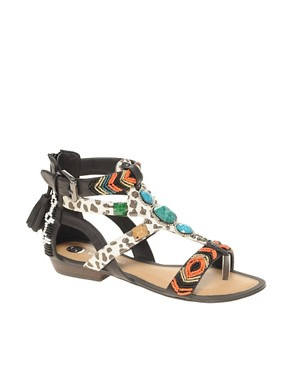 River Island River Island Tribal Print Beaded Gladiator Sandals at ASOS from asos.com