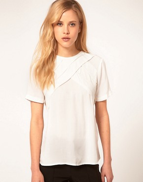 Image 1 ofASOS Blouse With Diagonal Pleats