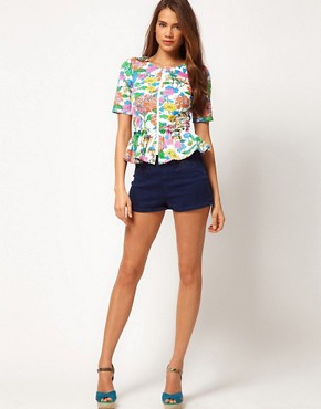 Image 4 of&#160;ASOS Premium Peplum Jacket In FLoral Print