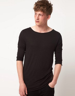 Image 1 ofASOS BLACK 3/4 Sleeve Top With Asymmetric Hem