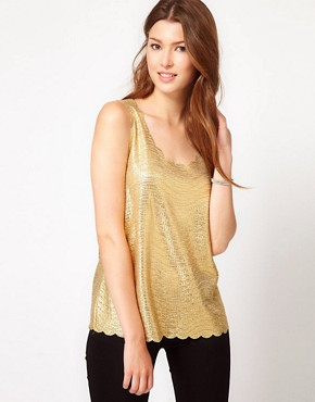 Image 1 of&#160;Club L Metallic Top With Scallop Edge