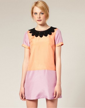 Image 1 of ASOS Silk Shift Dress in Color Block