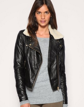 ASOS | ASOS Leather Aviator Jacket With Detachable Faux Fur Collar at ASOS
