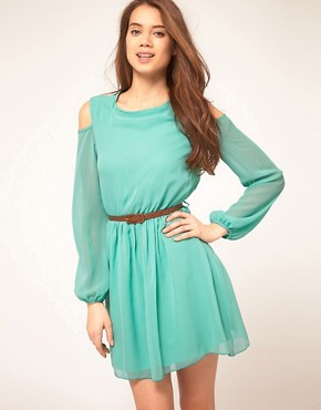Image 1 of&#160;Rare Chiffon Cut Out Shoulder Belted Dress