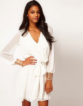 Image 1 of ASOS Wrap Dress with Sequin Cuff