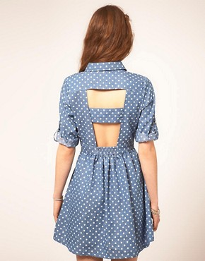 Image 2 of Sugarhill Boutique Denim Spot Dress With Cut Out Back