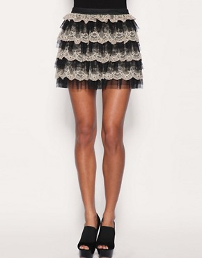 ASOS - Lace Tiered Mini Skirt :  lace mini skirt mini lace asos lace tiered mini ksirt