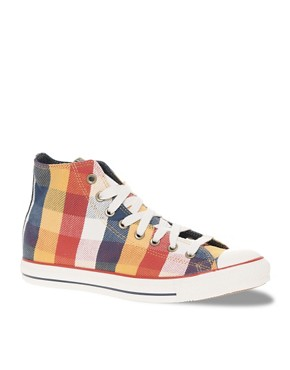 Converse All Star Specialty Buffalo Plaid Mid Plimsolls