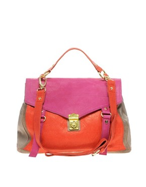Image 1 of ASOS Leather Color Block Satchel