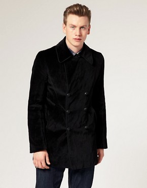 Pretty Green Black Label by Liam Gallagher Velvet Peacoat