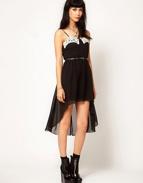 Thirty Four Disciples Chiffon Hi Lo Belted Lace Dress from us.asos.com