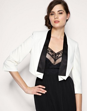 ASOS Tailored Contrast Lapel Cropped Tux Blazer :  jacket asos outerwear blazer