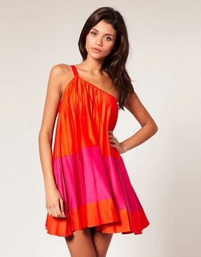 Image 1 of ASOS Pleated Color Block Trapeze Dress