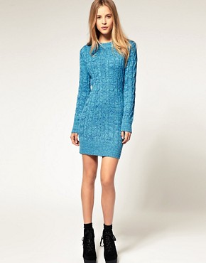 Image 4 of ASOS Aran Sweater Dress In Twist Yarn